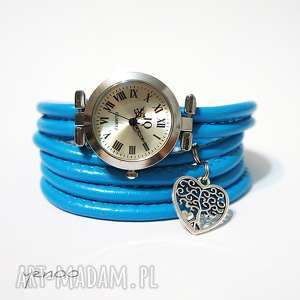 zegarek, bransoletka - niebieski drzewko, serce