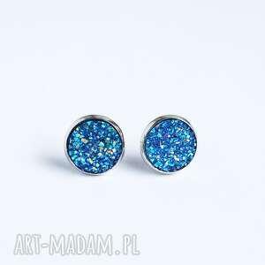 kolczyki małe - druzy niebieskie sztyfty, kolczyki, druzy, eleganckie