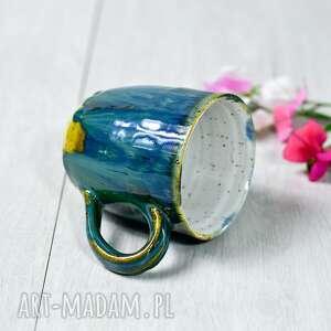 Kubek ceramiczny w kolorze zielonym - smaragd dot -250 ml