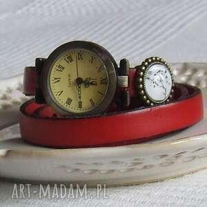Zegarek Vintage z Grafiką Skórzany Czerwień, biżuteria, zegarek, bransoletka, złoto