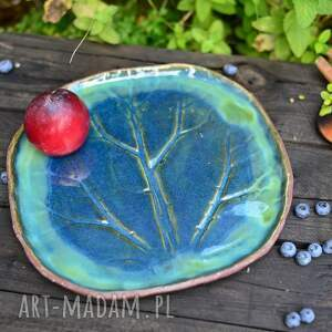 ceramika duży talerz ceramiczny w kształcie zielo-niebieskiego liścia, zielona