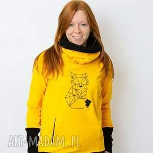 ketu style bluza damska żółta lis, z kominem, damska