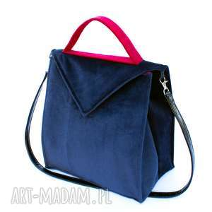 bbag midnight blue, kufer, kuferek, ramię, paskiem, aksamitna, welurowa