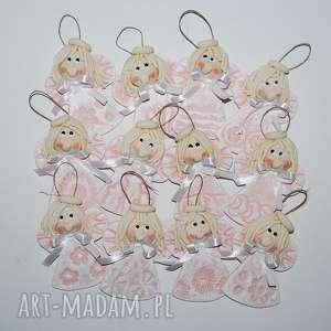 z białą kokardą - aniołki, anioły, dekoracja, prezent, chrzciny, komunia, ślub