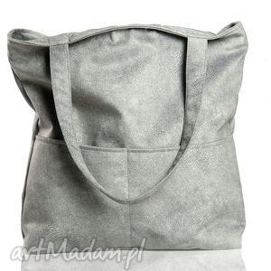 Szara zamszowa torba z kieszonkami na ramię, torba, torebka, szara