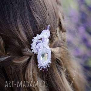 ślub romanrtczna spinka ślubna do włosów z kryształkiem swarovski - komplet lavender
