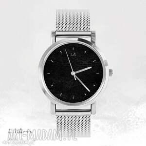 Prezent Zegarek, bransoletka - Czarny metalowy, unisex, męski, zegarek,