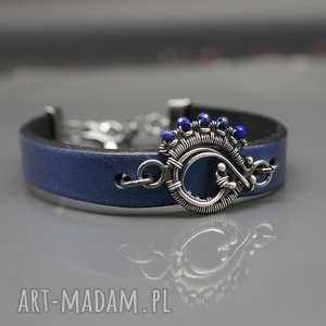 lapis lazuli - bransoletka earanor, bransoletka, skóra naturalna, srebro