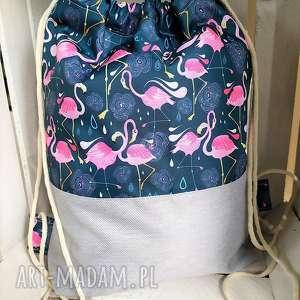 worek plecak flamingi na lazurowym tle, worek, plecak, zakupy, spacery