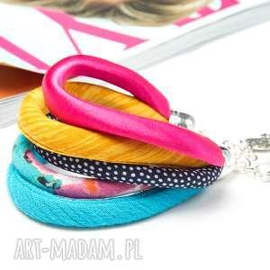 kolorowa bransoletka na lato, wielowarstwowa bransoleta, kolorowa, tkanina, tekstylna