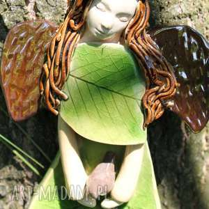lesny anioł z ptaszkiem, anioł, dla dziecka, aniołek, chrzest, prezent