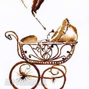 Bocian zrobił swoje - obraz kawą malowany, retro, dziecko, bocian, kawa, babyshower