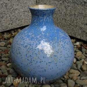 wazon błękitny krystaliczny 2, wazon, ceramika, krystaliczne, glina, rękodzieło