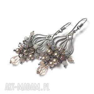 sand /grona/ - kolczyki, srebro oksydowane, swarovski, perły, kamień słoneczny