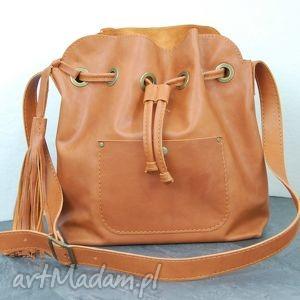 148f91c6b3b6e torebki ona jest ruda rudy skórzany worek, torba na ramię, torba, skórzana