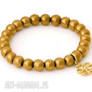 Golden hematitel with flower pendant. - ,hematyt,kwiatek,