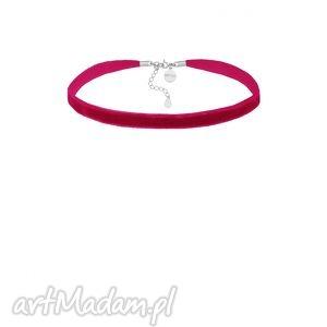 ręcznie zrobione naszyjniki aksamitny choker w kolorze fuksji z regulowanym zapięciem