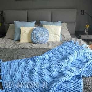 hand-made koce i narzuty koc pled niebieski