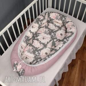 ręcznie robione pokoik dziecka wafelek kokon niemowlęcy peonie szare