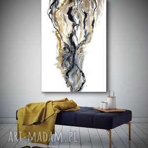 """Obraz na płótnie do salonu """"Złoty Piasek"""" - ręcznie malowany, dosalonu,"""
