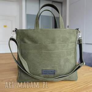 ręcznie wykonane na ramię magosha office a4, kolor zielony butelkowa zieleń, gruby eko