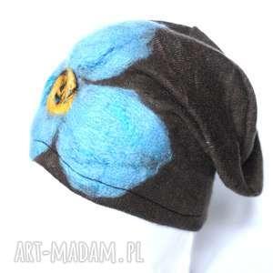czapka wełniana damska brąz - wełna, narty, ciepła, czapka, zima, prezent