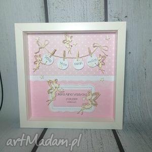 zaczarowana metryczka - narodziny, urodziny, chrzest, dziewczynka, prezent, metryczka