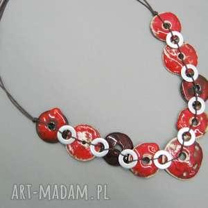 naszyjnik czerwień w metalicznej oprawie ii - naszyjnik, biżuteria, prezent
