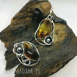 hand-made korale komplet biżuterii srebrnej z bursztynem srebro 925