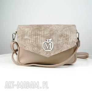 ręcznie robione torebki elegancka listonoszka imitacja węża beżowa