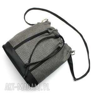 torebki niezwykle worek sakiewka - tkanina w jodełkę i skóra czarna, elegancka