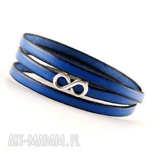 bransoletka skórzana ze znakiem nieskończności, niebieska