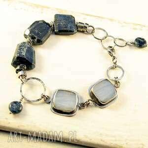 chalcedon i nadchodzący świt, srebrna bransoletka, agat koronkowy, surowy kyanit