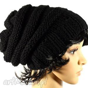 hand made czapki ręcznie dziergana czapka zimowa unisex czarna