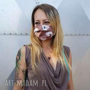 maseczka dwustronna w misie koala brązowa maska ochronna