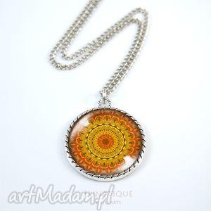 medalion, naszyjnik - pomarańczowa mandala - naszyjnik, mandala, medalion, orientalna
