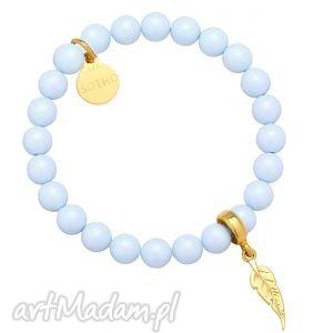 handmade jasnoniebieska bransoletka pereły swarovski® crystal ze złotym