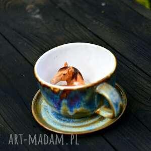 ceramika ceramiczna filiżanka z figurką konia - fioletowo niebieska 280 ml