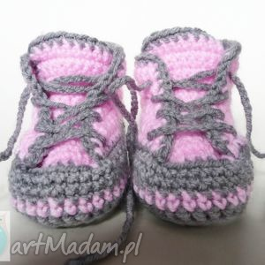 buciki szydełkowe trampki różowe - buciki, trampki