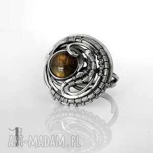 typhoon - srebrny pierścionek z labradorytem - pierścionek srebrny