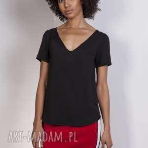 Bluzka w serek, BLU141 czarny, bluzka, zwiewna, lekka, dekolt, t-shirt