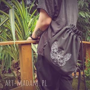 plecak worek mini motyl, haft, czarny,