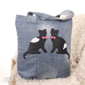 dzinsowa torba z kotami, torba, denim, kot, jeans, dżinsowa, koty