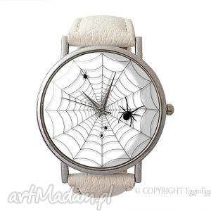 pajęczyna - skórzany zegarek z dużą tarczką - zegarek, skóry