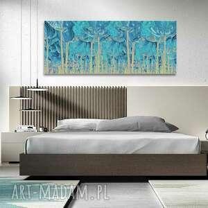 obraz z turkusem turkusowy las 150x60, nowoczesny na ścianę, obrazy