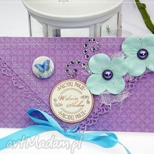 kopertówka z okazji ślubu-turkusy i błękity - ślub, wesele, kartka
