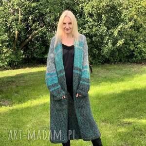 swetry wełniany płaszcz, sweter, kardigan, wełniany, nadrutach, długi