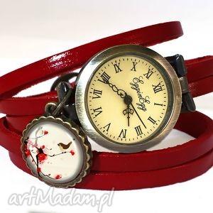 orientalne ptaszki - zegarek bransoletka na skórzanym pasku, skóry
