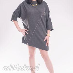 tunika z zamkiem - size plus, bawełniana, luźna, ciekawa, asymetryczna bluzy ubrania
