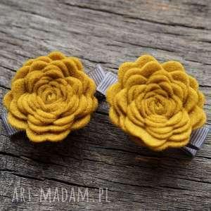 ozdoby do włosów roses spinki mustard, spinki, różyczki, dowłosów, filcowe